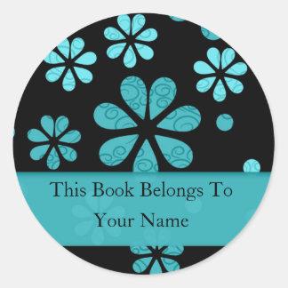 Retro Blumen-personalisierte Buchzeichen: Runder Aufkleber