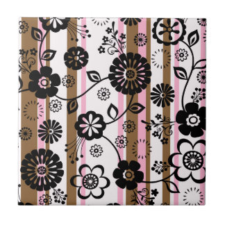 Retro Blumen und Streifen Kleine Quadratische Fliese