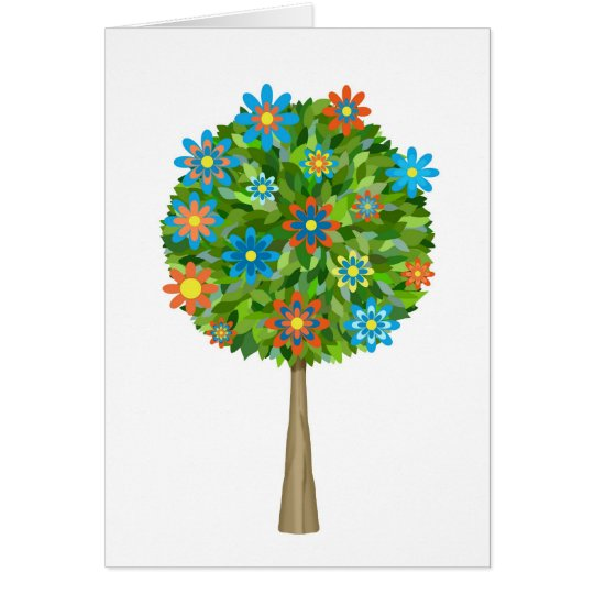 Retro Blumenbaum Grußkarte