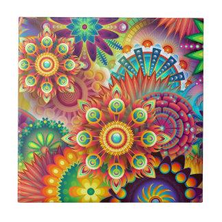 Retro Blumenfarben abstrakt Kleine Quadratische Fliese