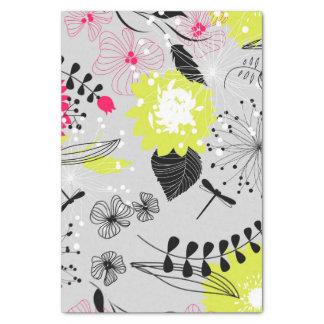 Retro Blumenmuster im Rosa u. im Gelb Seidenpapier