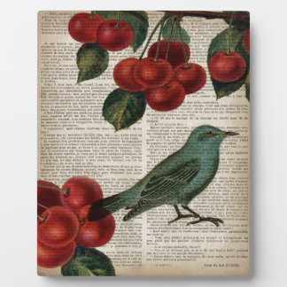 Retro botanische rote Kirsche des französischen Fotoplatte