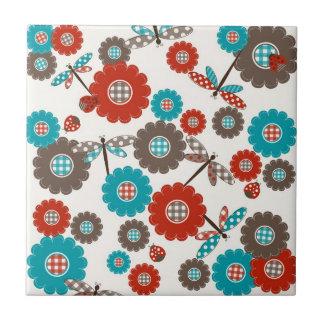 Retro buntes Blumen-Libellen-Muster Kleine Quadratische Fliese