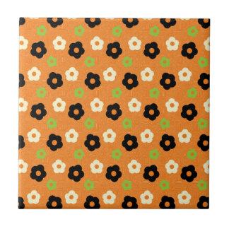 Retro buntes Herbst-Blumen-Power-Muster Keramikkachel