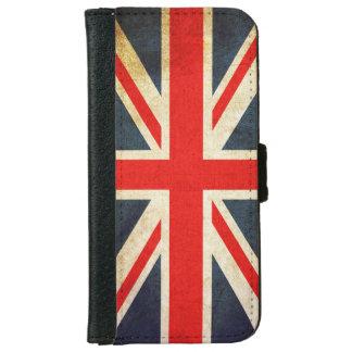 Rétro caisse britannique de portefeuille de coque avec portefeuille pour iPhone 6