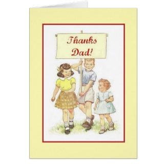 Rétro carte de voeux de fête des pères