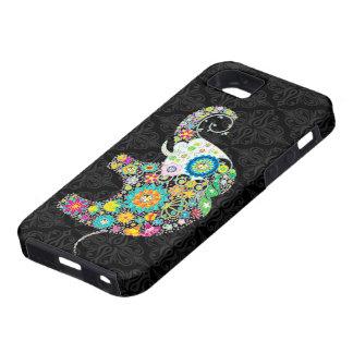 Rétro conception colorée d éléphant de fleur iPhone 5 case