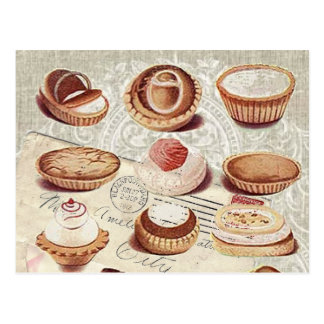Retro Dame Paris des Bäckereikuchen-Gebäcks Postkarten