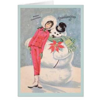 Retro Enkelin-Weihnachtskarte Grußkarte