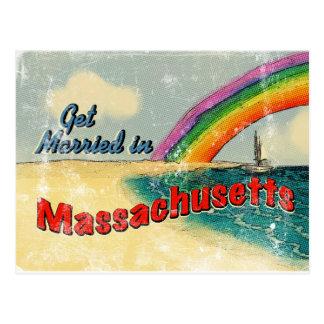 Retro erhalten Sie in Massachusetts verheiratet Postkarte