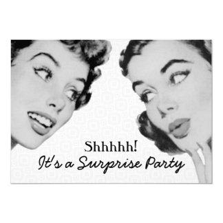 Retro erklären Sie Überraschungs-Geburtstags-Party Personalisierte Ankündigungskarte