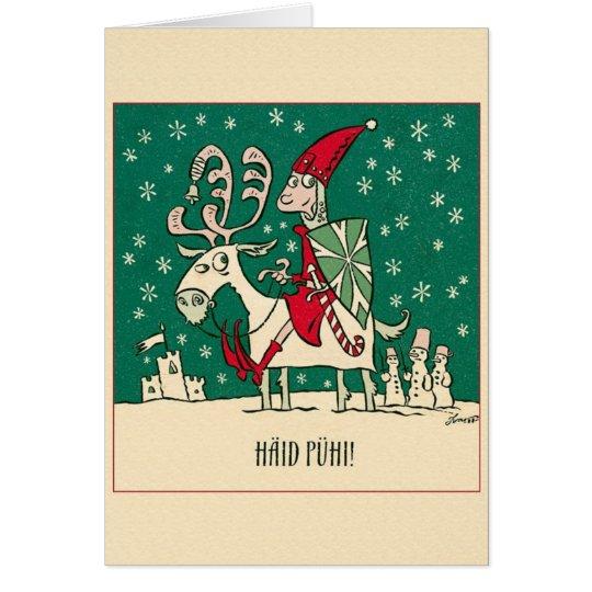 Retro estnische Häid Pühi Weihnachtsgruß-Karte Grußkarte