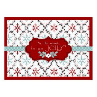 Rétro étiquette de cadeau de flocons de neige carte de visite grand format