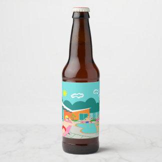 Rétro étiquette gai de bouteille à bière de