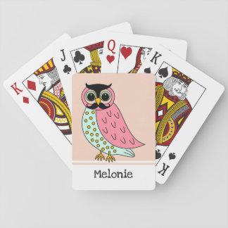 Retro Eule mit dem Schnurrbart addieren Namen Spielkarten