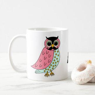 Retro Eule mit Schnurrbart-Monogramm Kaffeetasse