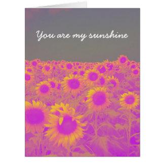 Retro Feld der Sonnenblumen Riesige Grußkarte
