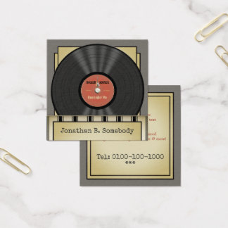 Retro Felsen-Vinylaufzeichnung Quadratische Visitenkarte