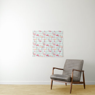 Retro Flamingos auf tadellosen Streifen Wandteppich
