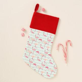 Retro Flamingos auf tadellosen Streifen Weihnachtsstrumpf