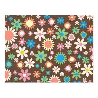 Rétro fleur carte postale