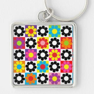 Rétro flower power super porte-clé carré argenté
