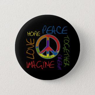Retro Frieden Runder Button 5,1 Cm