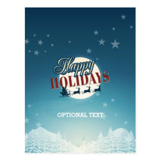 Retro frohe Feiertage fliegende Sankt u. Postkarte