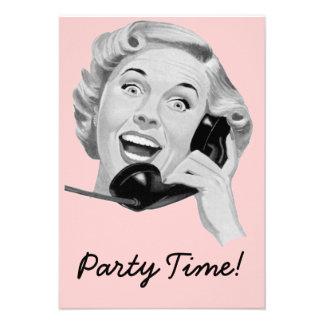 Retro Fünfzigerjahre Geburtstags-Party V2 Individuelle Ankündigskarten