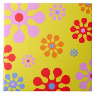 Retro Funky Blumen-Muster-Gelb Trivet Große Quadratische Fliese