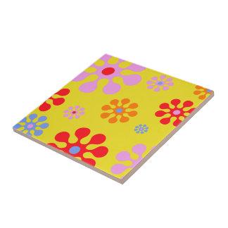 Retro Funky Blumen-Muster-Gelb Trivet Kleine Quadratische Fliese