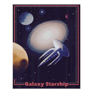 "Retro ""Galaxie Starship"" Plakat"