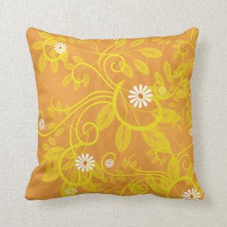 Retro Gänseblümchen und gelbe mit Filigran Kissen