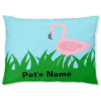 Retro Garten-Flamingo mit Namen Haustierbett