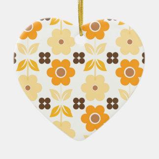 Retro gelbe Blumen Dble-versahen Herz Ornanent mit Keramik Ornament