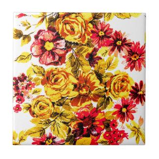 Retro gelbe und rote Blumen Keramikkachel
