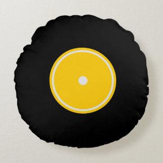 Retro gelbes rundes Kissen der