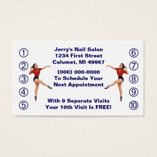 Retro Geschäfts-Lochkarte-Damen-glückliche Dame Visitenkarten