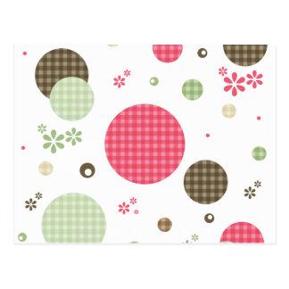 Retro Gingham-Tupfen und Gänseblümchen Postkarte