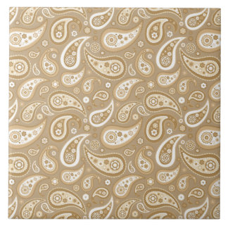 Retro goldenes Paisley-Muster Große Quadratische Fliese