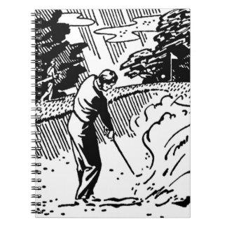 Retro Golfspieler-Sandfang Spiral Notizblock