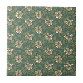 Retro grünes Blumen Kleine Quadratische Fliese