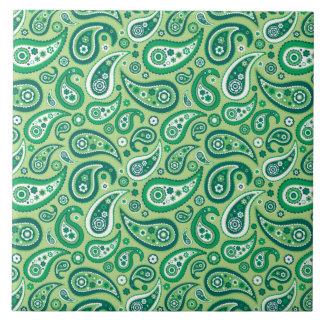 Retro grünes Paisley-Muster Große Quadratische Fliese