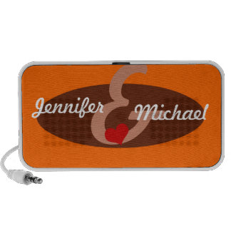 Rétro haut-parleur ovale orange de griffonnage de