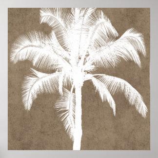 Retro hawaiisches tropisches Palme-Silhouette-Weiß Poster