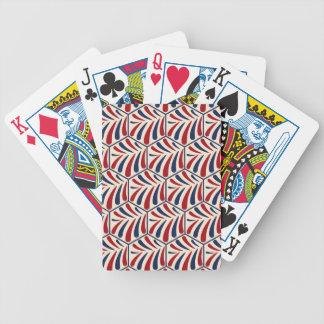 Retro Hexagonmuster des blauen Rotes Pokerkarten