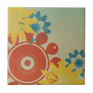 Retro Hippie-Blumen Kleine Quadratische Fliese