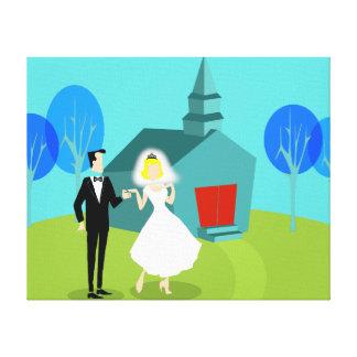 Retro Hochzeits-Paare ausgedehnter Leinwand-Druck Gespannte Galerie Drucke