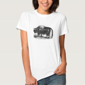 Rétro illustration d'animal de yaks de yaks t shirt