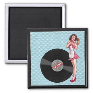 Retro Jahr-Dame Art Collage, Eiscreme, Kuss Quadratischer Magnet